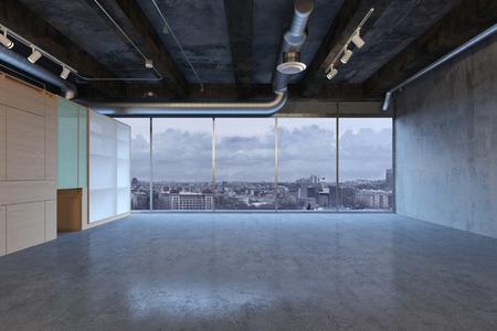 Stanza vuota di spazi per uffici con grandi finestre che mostrano la città (rendering 3D)