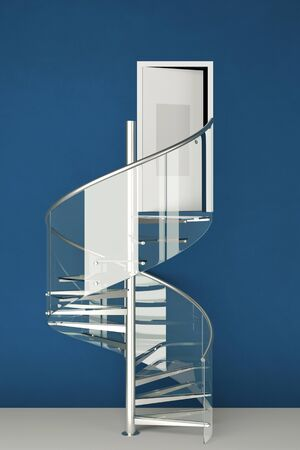 spiral staircase: Spiral staircase made of glass in business office on blue wall (3D Rendering) Stock Photo