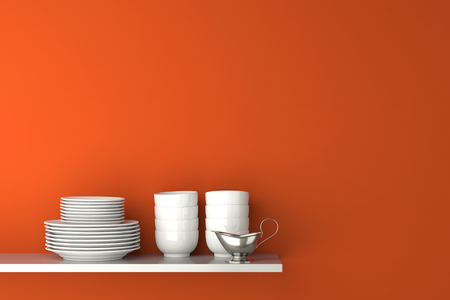 3d boat: Dishes and gravy boat on kitchen shelf in front of organge wall (3D Rendering) Stock Photo