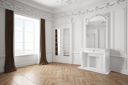 Empty white bright room with stucco in an old villa with fireplace