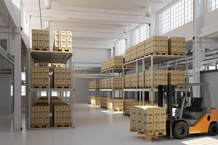 forwarding agency: Full storage warehouse with many boxes and a forklift