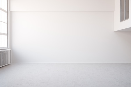 exposed concrete: Empy white big room in loft for an office or workspace