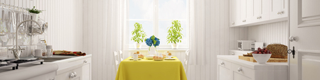 white kitchen: Bright white kitchen panorama with set breakfast table