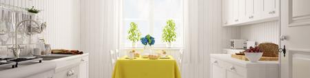 Heldere witte keuken panorama met set ontbijttafel