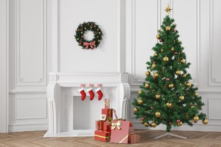 navidad elegante: Árbol de Navidad con regalos cerca de una chimenea en una habitación elegante