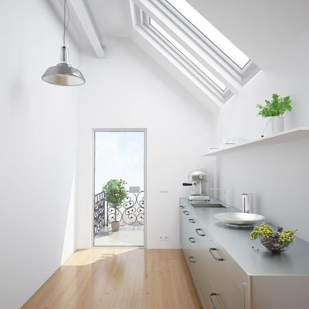 Heldere witte keuken in een kleine dakappartement Stockfoto