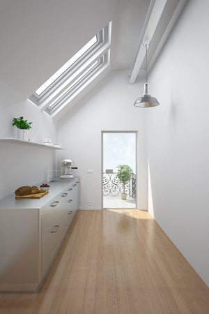 kitchenette: Bright room in an attic with kitchen and balcony (3D Rendering) Stock Photo