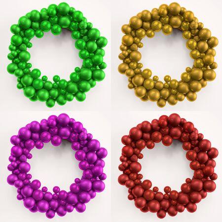 coronas de navidad: Cuatro coronas de navidad de colores hechas de bolas del árbol de navidad (3D)
