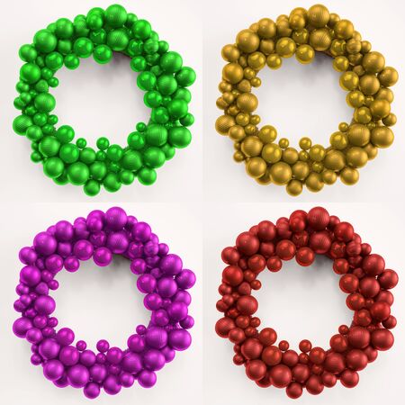 christmas wreaths: Four colorful christmas wreaths made of christmas tree balls (3D Rendering) Stock Photo