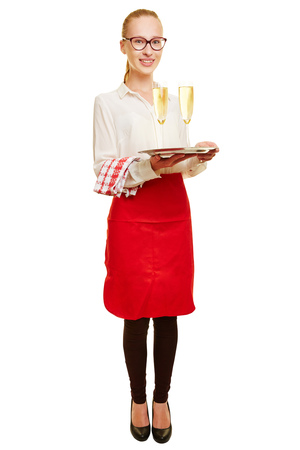 alcohol server: Full body shot of young woman as waiter with sparkling wine on a tray