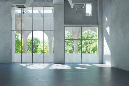 concrete: Empty bright white hall with space for office or gallery (3D Rendering) Stock Photo