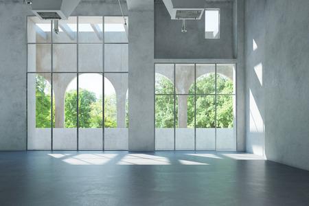 Hormigón: Pasillo vacío de color blanco brillante con espacio para oficina o galería (3D)