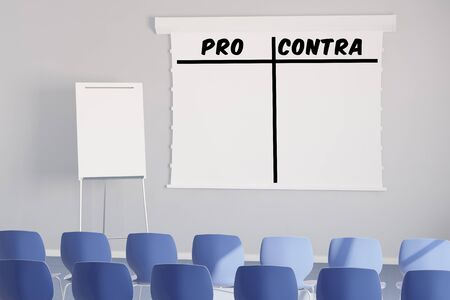 disadvantages: Pro and Contra as list on a flipchart in a seminar room (3D Rendering)