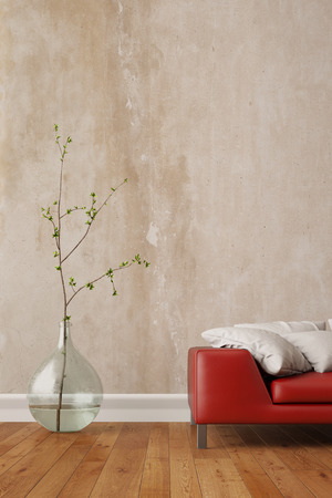 living room wall: Wall in living room with a red sofa and a vase (3D Rendering) Stock Photo
