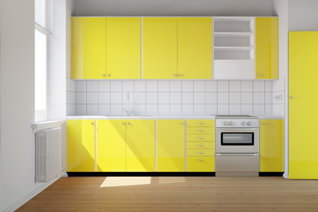 Yellow new fitted kitchenette in a clean small kitchen (3D Rendering)