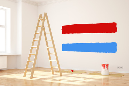 creates: New paint color on wall in rool creates Luxembourg flag (3D Rendering)