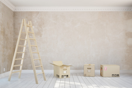 forwarding agency: Empty room in apartment during relocation with ladder and moving boxes (3D Rendering)