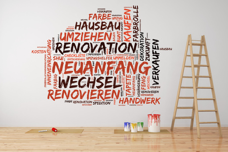 forwarding agency: Renovation and relocation tag cloud in German on a wall in a room with ladder (3D Rendering) Stock Photo