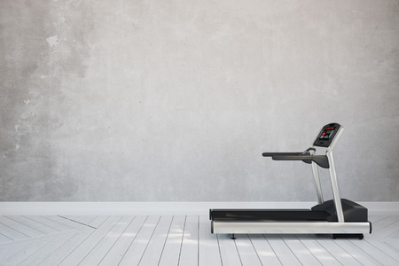 Treadmill in interior room at home in front of concrete wall (3D Rendering) Standard-Bild