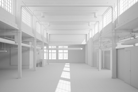 Big white storage hall with bright windows (3D Rendering) Stock Photo