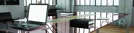 Panaorama de bureau avec ordinateur portable sur table en verre (rendu 3D)