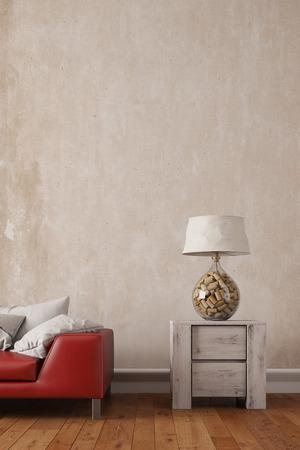 Leselampe auf einem Tisch neben einem Sofa in einem Wohnzimmer (3D Rendering)