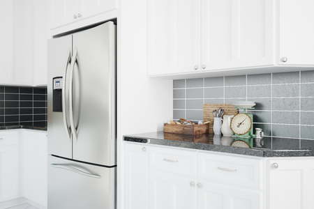 counter top: Modern fridge in a clean white kitchen with counter top (3D Rendering) Stock Photo