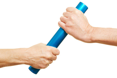 relay baton: Teamwork concept with two hands and a relay baton