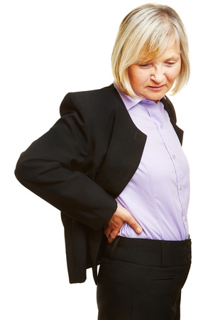 pangs: Old business woman having back pain and holding her aching back