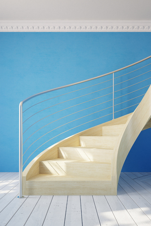blue wall: Spiral staircase in a room with blue wall (3D Rendering) Stock Photo