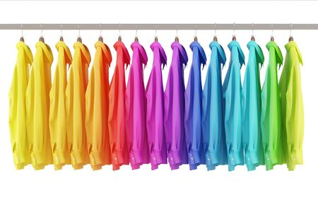 clothes rail: Many colorful shirts hanging assorted in rainbow colors on a clothes rail (3D Rendering)