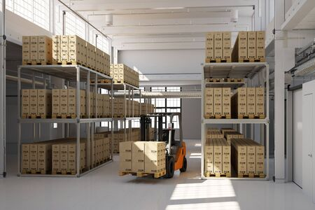 forwarding agency: Warehouse building with many storage boxes and a forklift (3D Rendering)
