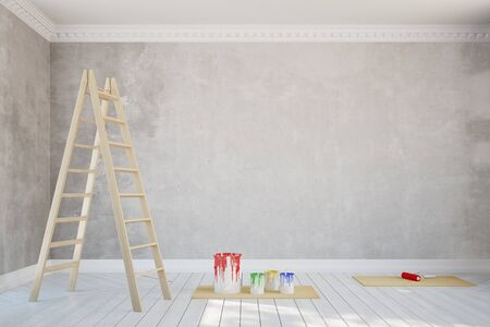 stucco: Renovation of a wall in empty old room with stucco (3D Rendering)