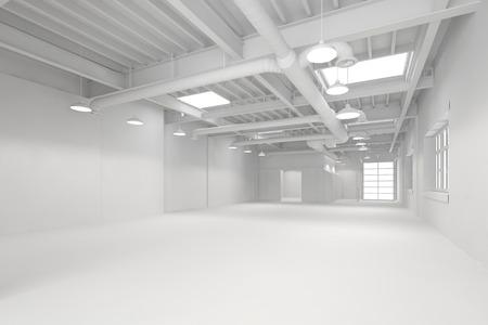 Blanc grande propre halle industrielle vide comme entrepôt ou espace de bureau (rendu 3D)