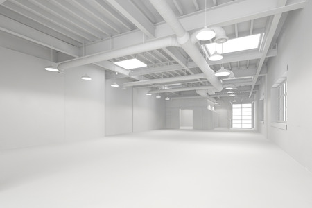White big clean empty industrial hall as warehouse or office space (3D Rendering)