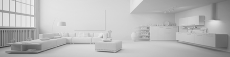 exposed concrete: Panorama of a clean white loft with open kitchen and living room (3D Rendering)