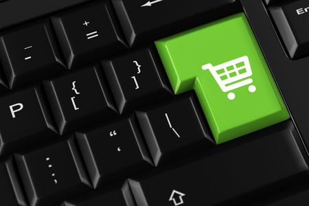 electronically: Shopping cart on a keyboard key as koncept for online shopping (3D Rendering)