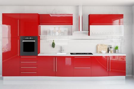 kitchenette: Clean modern red kitchenette in a kitchen (3D Rendering) Stock Photo
