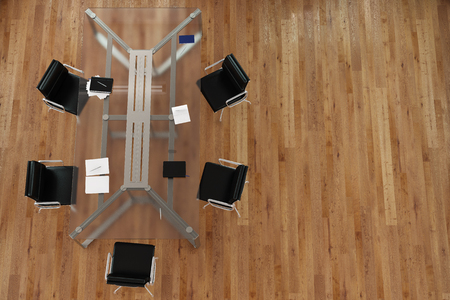 business conference: Glass table with chairs in business conference room from above (3D Rendering)