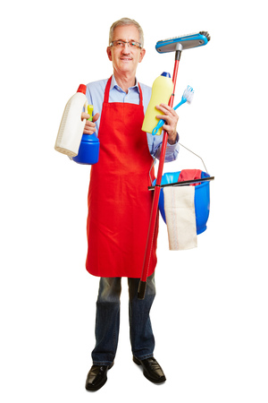 homemaker: Man with many cleaning supplies in his hands as housemaker