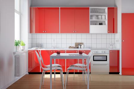 Interno di una piccola cucina rosso con angolo cottura attrezzato (rendering 3D)
