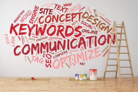 wall paint: Red communication keywords tag cloud on a wall with paint cans and ladder (3D Rendering)