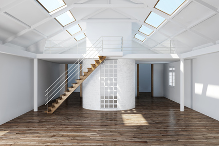 upgrading: Upgrading an empty attic in house with parquet floor (3D Rendering)