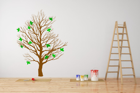Tree as wall decall in room during a renovation (3D Rendering) Standard-Bild