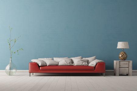 Interieur van woonkamer met een rode bank in de voorkant van een blauwe muur (3D rendering) Stockfoto