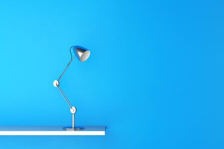 reading lamp: Modern reading lamp on a shelf near a blue wall (3D Rendering)