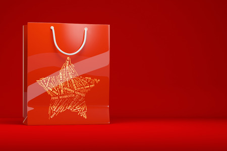 christmas shopping bag: Red christmas shopping bag as gift on a red background (3D Rendering)