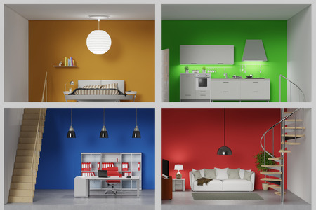 inspiration: Apartment with four colorful rooms in a living box (3D Rendering) Stock Photo
