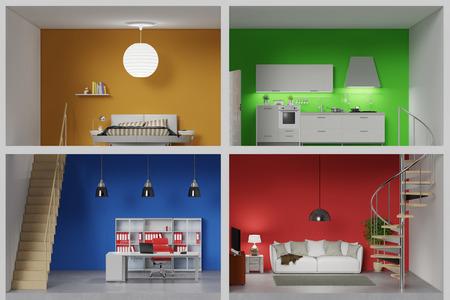 Appartement avec quatre chambres colorées dans une zone de vie (rendu 3D)