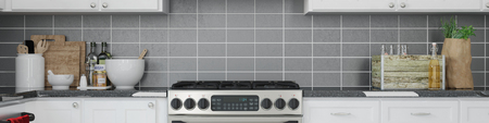 frontal: Interior panorama of a kitchen with clean stove and counter top (3D Rendering)
